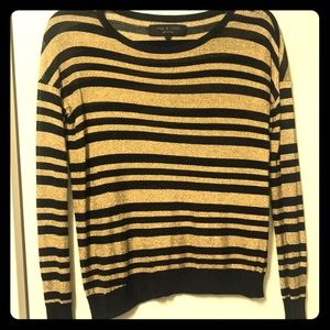 Gold and black metallic striped sweater